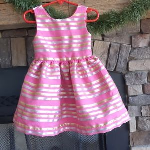 Gymboree pink, silver, gold Easter dress 2t